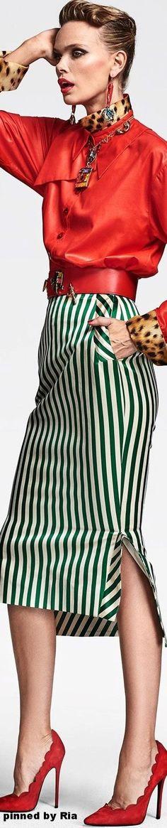 Rosamaria G Frangini   High Casual   Stripes   Ronald van der Kemp FW 2016-17 Couture l Ria