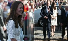 Duchess of Cambridge wears Cream lace Zimmermann Roamer Day dress, Stuart Weitzman wedges #RTW