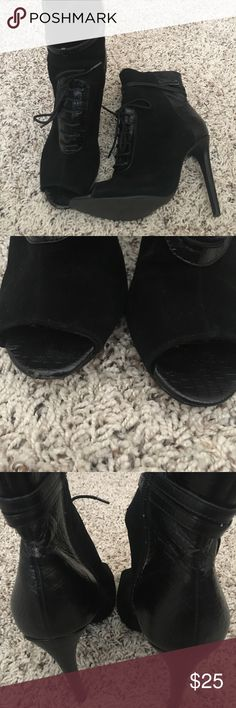 FINAL SALE ⚡️Suede & Faux Leather Heels Beautiful shoes in good condition. Have only been worn a couple of times, sign of wear shown in pictures. Express Shoes Lace Up Boots