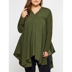 Plus Size Long Sleeves Asymmetric Blouse, OLIVE GREEN, XL in Plus Size Tops   DressLily.com