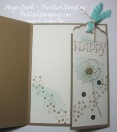 Scallop Tag Topper Detachable Bookmark card CASEd from Glenda Calkins.   happy watercolor, decorative dots, sequin trim, perforation rotary blad, scallop tag topper, stampin up, cards Learn how: www.toocoolstamping.com