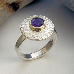 Amethyst silver and gold ring