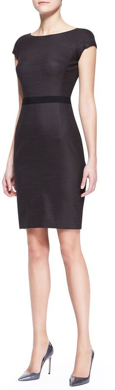Pule K Cap-Sleeve Dress with Grosgrain Waist, Brown