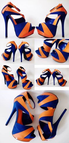 Blue & Orange peep toe platform heels. These are my school colors; I'd wear them to special events.