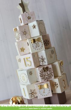I have wanted to make one of these tiny box tree advent calendars for years and have never gotten around to it. Well, with the Lawn Fawn Tiny Gift Box Dies and Celebration Countdown Stamps and coordinating dies,. Advent Calendar Boxes, Advent Calenders, Diy Calendar, Printable Calendar Template, Printable Box, Christmas Countdown, Christmas Crafts, Christmas Decorations, Christmas Christmas