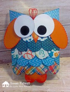 Pillow Box- Owl by Susan Tidwell- Authentique Playful- The Little Blue House