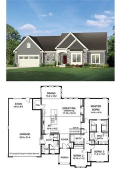 Building A House Discover Ranch Style House Plan - 3 Beds Baths 2006 Sq/Ft Plan Make great room & master bath smaller and add a little space to each bedroom. House Plans One Story, Ranch House Plans, Craftsman House Plans, New House Plans, Dream House Plans, Small House Plans, House Floor Plans, Dream Houses, Romantic Couples