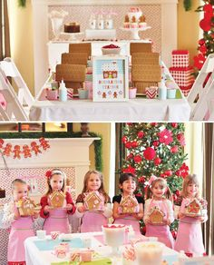 Adorable Gingerbread House Decorating Party Via Hostess With The Mostess Event By Homespun