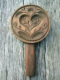 Vintage Old Carved Wooden Butter Mold Press with Heart and Floral Design Sold… Chip Carving, Wood Carving, Butter Molds, Churning Butter, Art Populaire, Country Primitive, Heart Art, Folk Art, Floral Design