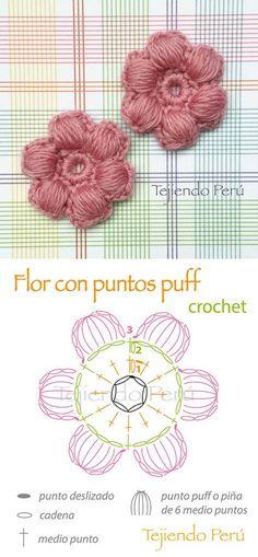 Crochet: flores con puntos puff o piñas de 5 medio puntos! Diagrama.