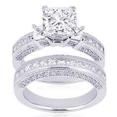 2 Ct Princess Cut 3 Three Stone Diamond Engagement Wedding Rings Pave Channel Set 14K Gold SI2: Fascinating Diamonds