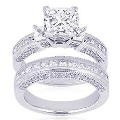 2 Ct Princess Cut 3 Three Stone Diamond Engagement Wedding Rings Pave Channel Set 14K Gold SI2: Fascinating Diamonds