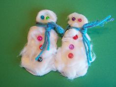 Cottonball snowmen puppets