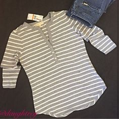 "Michael Kors Striped Tee HP caligirlnmn Gray and white stripes, 3/4 length sleeves, bust is 38"" and hi/lo hem is 25"" in front and 27"" in the back. NWT Michael Kors Tops Tees - Long Sleeve"