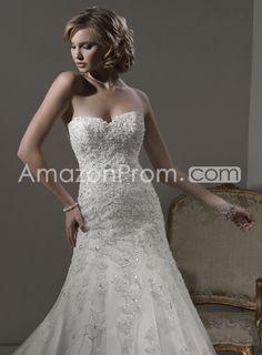 US $242.09 Fantastic A-line Removable Straps Floor-Length Chapel Appliques Wedding Dresses