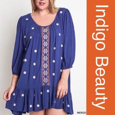 BEAUTIFUL INDIGO PEASANT DRESS Gorgeous color, gorgeous details on this drop hem dress. Flattering and very comfortable. Polyester, rayon, spandex blend. Measurements upon request. PLEASE DO NOT BUY THIS LISTING, I will personalize one for you. tla2 Dresses Mini