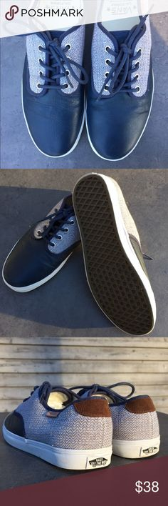 Men's blue Vans shoes (size 9) Men's Vans California shoes size 9 (women's 10.5). Blue faux leather and blue herringbone canvas. Brown suede detail on heels. The tops of the toes have some wrinkling in the leather and there are some small scuffs/spots on the toes (see pictures). VERY RARE. Vans Shoes Sneakers