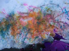 We took our art outside for some snow painting.  We used squeeze bottles with tempera and watercolor paints, shaker jars for powder paints and glitter, and spray bottles. So. Much. Fun.
