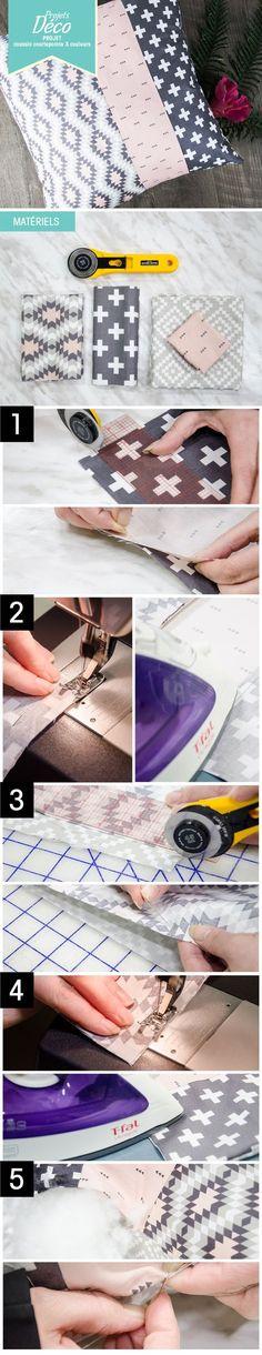 PAS À PAS: Un joli coussin décoratif! #couture #courtepointe #quilt #déco #sewing