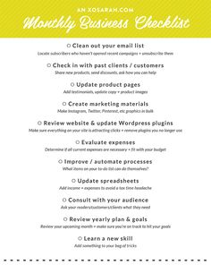 A monthly checklist to keep your online business healthy from XOSarah.com