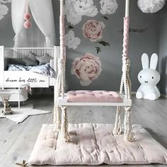 How pretty is this little girl's room by Stine S.moi 👈🏻 Shop Miffy lamp via the link in our bio 💕 . Baby Bedroom, Baby Room Decor, Nursery Room, Girl Nursery, Girls Bedroom, Nursery Decor, Bedroom Decor, Bedrooms, Swing In Bedroom