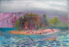 La isla, acrylic on canvas, 65 x 100 cm,2012 #followart #popsurrealism By Diego Manuel