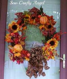 Sew Crafty Angel: Fall Door Wreath DIY