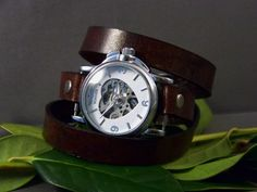 Leather Wrap Around Mechanical Watch by 4MLeatherDesign on Etsy, $70.00