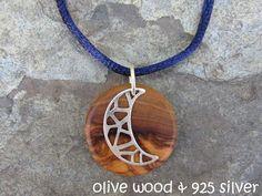 Holzketten - Kette Olivenholz Mond 925 Silber Satin blau Holz - ein Designerstück von Alentejoazul bei DaWanda