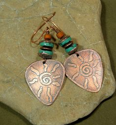 Turquoise Earrings  Etched Copper Jewelry  by StoneWearDesigns