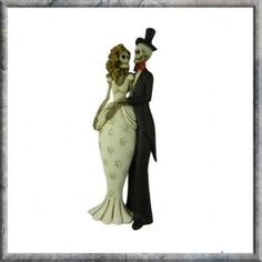 Skeleton Bride and Groom Til Death Do Us Part Ornament Figurine. Ideal Wedding Gift.  An undead Gothic resin bride and groom