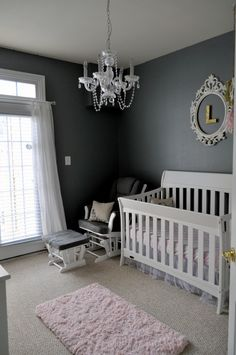 A pink, charcoal and metallic gold nursery featuring charcoal walls, a vintage dresser repainted white with crystal knobs and pink and gold accent pieces. Gold Nursery, Nursery Modern, Nursery Room, Nursery Decor, Chic Nursery, Nursery Ideas, Royal Nursery, Grey Room, Pink Room