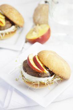 Grilled Mushroom and Peach Sliders #recipe
