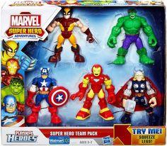Marvel Playskool Super Hero Adventures Action Figure 5-Pack Super Hero Team Pack [Wolverine, Hulk, Captain America, Iron Man & Thor] Super Hero Adventures http://smile.amazon.com/dp/B00FP0FDPW/ref=cm_sw_r_pi_dp_OsqIub1DEBW6C