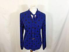 d2c854b85500 MICHAEL Michael Kors Black and Blue Blouse Size Medium  MichaelKors  Blouse