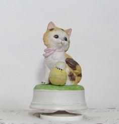 Kitten Cat Revolving Music Box Figurine by BeanzVintiques on Etsy