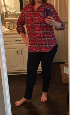 Skies are Blue Sisou Button Down Top, Red plaid, size L, $58 -- RETURNED; cute but cut too straight for comfort; September 2015 Stitch Fix #stitchfix