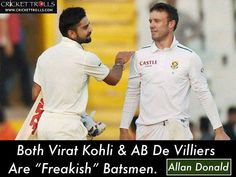 Virat & ABD are the two best batsmen in the world at the moment: Allan Donald - facebook.com/MyCricketTrolls
