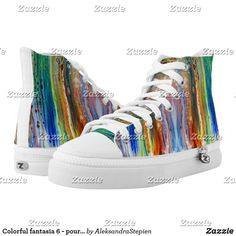 Colorful fantasia 6 - pouring paint. High-Top sneakers Painted Shoes, Custom Sneakers, On Shoes, Converse Chuck Taylor, High Tops, High Top Sneakers, Your Style, Blue And White, Fancy