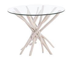 Mesa de comedor en madera de teca Sahel, blanco - Ø110 cm