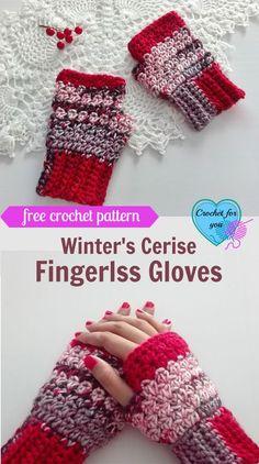 Winter's Cerise Fingerless Gloves - free crochet pattern ok to sell Crochet Fingerless Gloves Free Pattern, Crochet Mitts, Fingerless Gloves Knitted, Free Crochet, Crochet Granny, Crochet Hand Warmers, Crochet Accessories, Crochet Crafts, Crochet Projects
