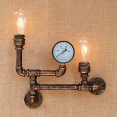 Nordic Industrial Style 2 Heads Metal Water Pipe Wall Light American Country Loft Wall Lamp E27 Edison Vintage Bar Cafe Lustre