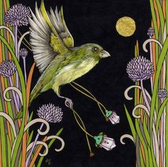 Anita Inverarity = Original Pen and Ink Drawing with 24c Gold Leaf From my Bejeweled Birds Series Green Finch- inspired by my garden visitors Art Size: Approx 6 x 6 inches Framed Size: Approx 10 x 10 inches Custom Framed in a champagne gilt with off white matt and art glass
