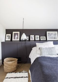 White & grey bedroom. Natural materials. Gallery wall. Pendant light. #neutral #bedroom #gallerywall