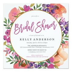 Shop Modern Floral Watercolor Wedding Invitation created by BanterandCharm. Personalize it with photos & text or purchase as is! Wedding Shower Invitations, Modern Invitations, Wedding Stationery, Brunch Invitations, Personalized Invitations, Stationery Design, Zazzle Invitations, Flower Invitation, Invitation Cards