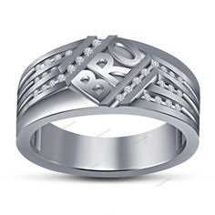 Gift Jewelry For Brother Special Men's Band Ring Simulated Diamond 925 Silver…