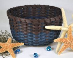 SALE Walnut & Blue Spruce Hand Woven Round Table Basket
