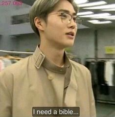 """When Suho hears Tao say """"Sssssshit"""", Lay and Luhan sing about """"peaches and flutes"""" and Kris has a mullet Exo Memes, Funny Kpop Memes, Dankest Memes, Lost Memes, Chanyeol, Kyungsoo, Meme Pictures, Reaction Pictures, K Pop"""