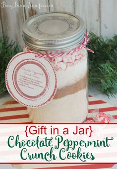 Gift in a Jar: Chocolate Peppermint Crunch Cookies - Busy Being Jennifer