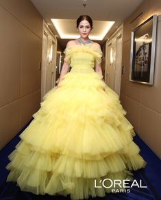 Araya A. Prom Dresses With Sleeves, Formal Dresses, Cannes Film Festival, Yellow Dress, Cool Shirts, Chompoo Araya, Actors & Actresses, Red Carpet, Ball Gowns